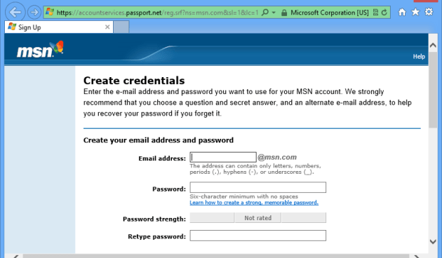 MSN Signup Support