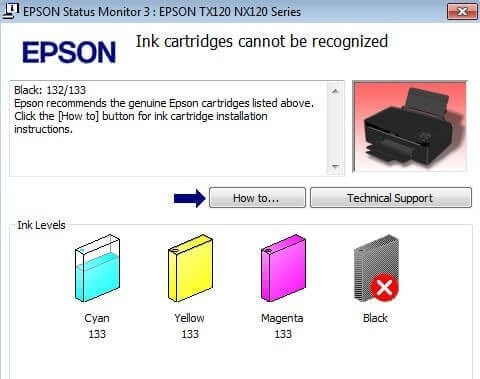 Epson Ink Cartridge Not Recognised