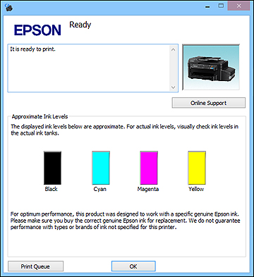 check ink levels on epson printer