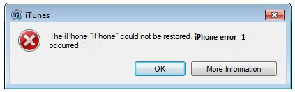 iPhone Error -1 During Restore