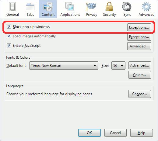 disable pop-up blocker
