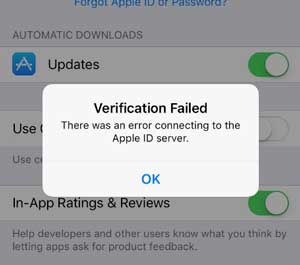 error connecting to Apple server