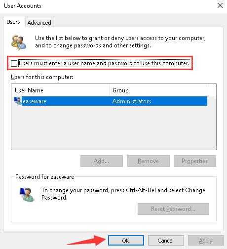 Remove password Windows 10