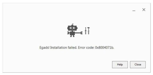 Chrome error code 0x8004071b
