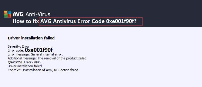 avg error code 0xe001f90f