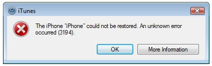 iPhone Could Not Be Restored Error 3194