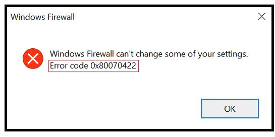 windows error code Ox80070422