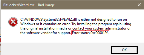 windows error 0xc000012f