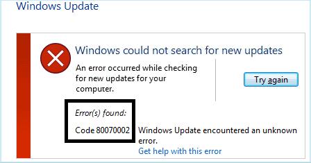 windows update error 0x80070003