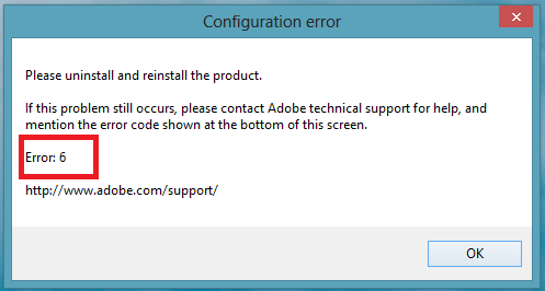 Adobe Error 6