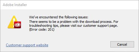 Adobe Error Code 201