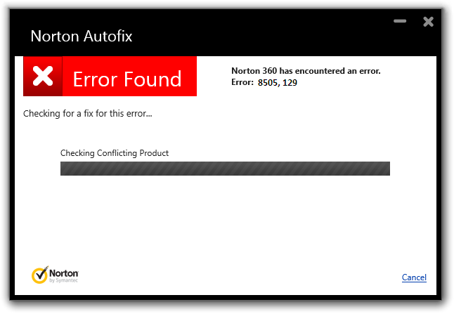 Norton Error 8505 129