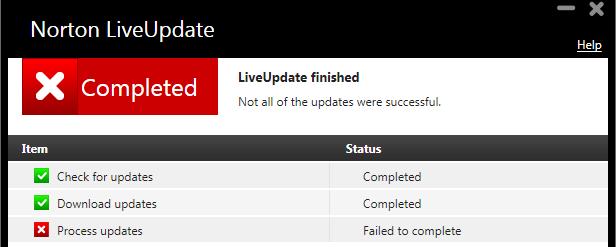 Norton Live Update Error