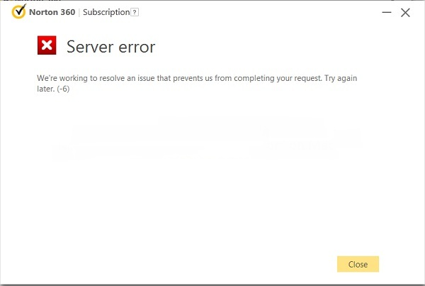 Norton Server Error