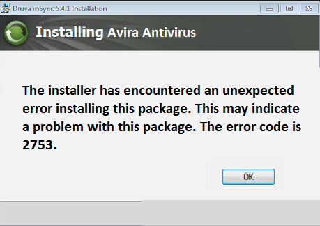 the installer has encountered an unexpected error installing this package 2753