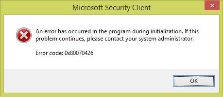 Error 0x80070426