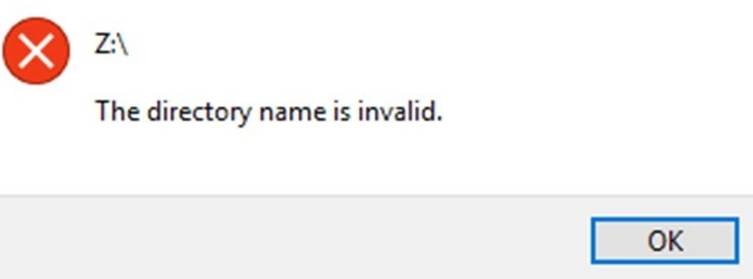 the directory name is invalid
